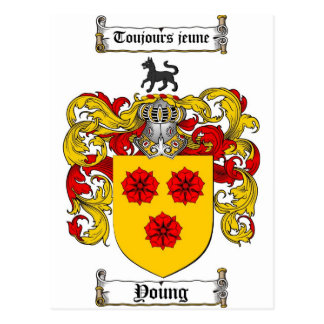 Young Coat of Arms / Young Family Crest Postcard