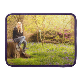 Young cool woman relaxing at spring time sleeve for MacBook pro