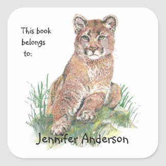 Young Cougar Watercolor Animal  Custom Bookplate