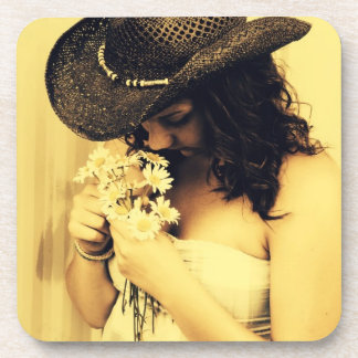 Young Country Girl with Daisies Coaster