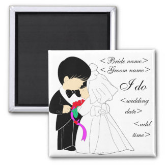 Young Couple 2 Inch Square Magnet