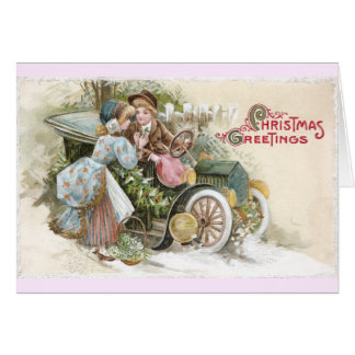 Young Couple and Vintage Cabriolet Christmas Card