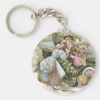Young Couple and Vintage Cabriolet Christmas Basic Round Button Keychain
