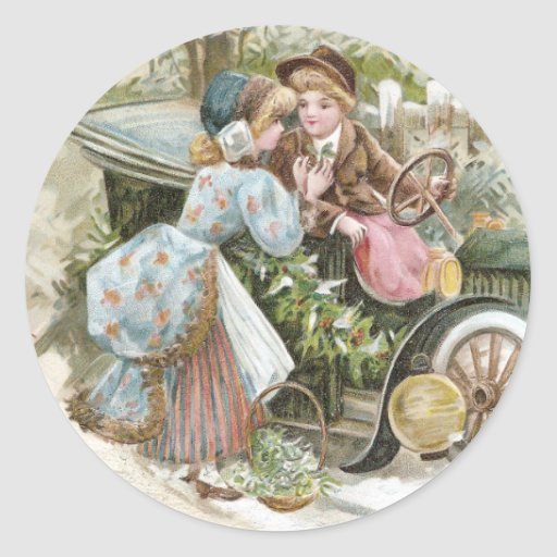 Young Couple and Vintage Cabriolet Christmas Sticker