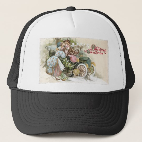 Young Couple and Vintage Cabriolet Christmas Trucker Hat