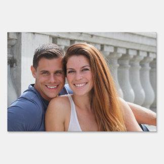 Young Couple Bridge Lawn Sign