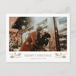 Young Couple First Christmas Photo Postcards