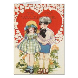 Young Couple Heart Hearts Daisy Card