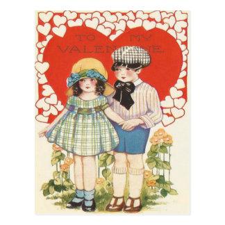 Young Couple Heart Hearts Daisy Postcard