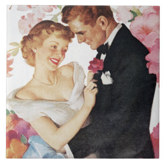 Young couple in formal wear ceramic tile
