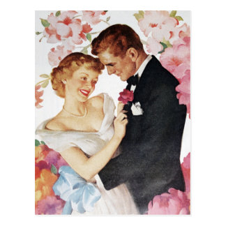 Young couple in formal wear postcard