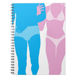 Young couple in love in swimwear note book
