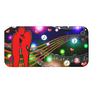 Young Couple Kissing--Hearts, Music, iphone case