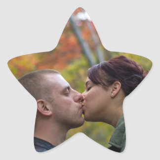 Young Couple Kissing Star Sticker