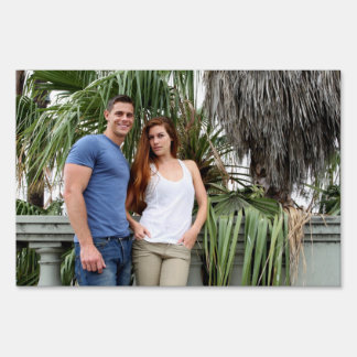 Young Couple Palm Tree Yard Sign