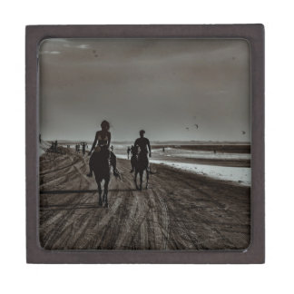 Young Couple Riding Horses at the Beach Jewelry Box