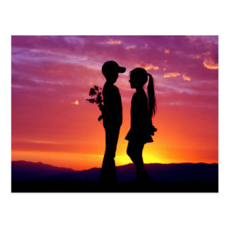 Young Couple Sunset Silhouette Postcard