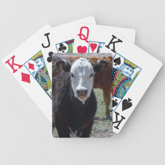 Young Cow Black and White Face Western Bicycle Playing Cards