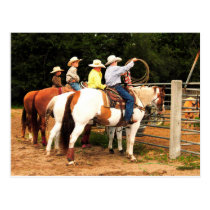 Young Cowboys roundup time at rodeo post card art