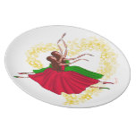 Young Dancers Jumping,green,red and Starred Heart Plate