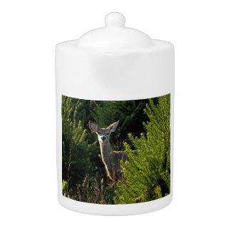 Young Deer in Pine Trees Teapot