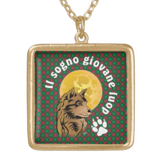 young dreaming wolf gold plated necklace