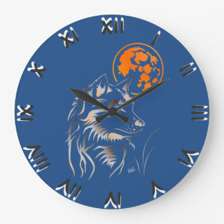 young dreaming wolf large clock