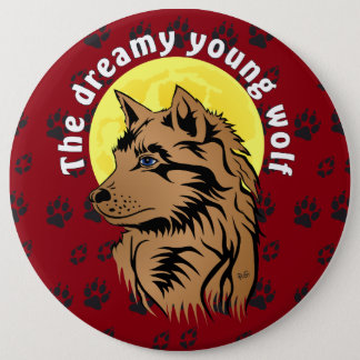 young dreaming wolf pinback button