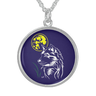 young dreaming wolf sterling silver necklace