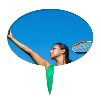 Young dutch woman with tennis racket and ball cake topper