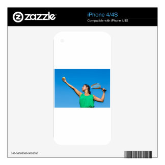 Young dutch woman with tennis racket and ball decals for iPhone 4