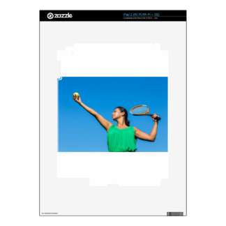 Young dutch woman with tennis racket and ball decals for the iPad 2