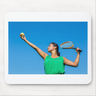 Young dutch woman with tennis racket and ball mouse pad