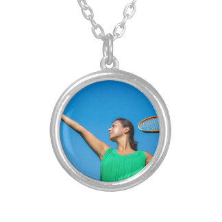 Young dutch woman with tennis racket and ball silver plated necklace