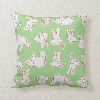 Young Elephants in Mint Throw Pillow