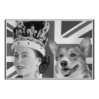 Young Elizabeth II and her Corgi Poster