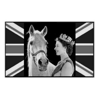 Young Elizabeth II and her horse Poster