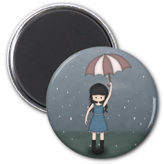 Young Emo Girl Standing in the Rain with Umbrella Magnet