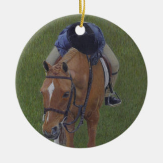 Young Equestrian Rider and Pony Ceramic Ornament