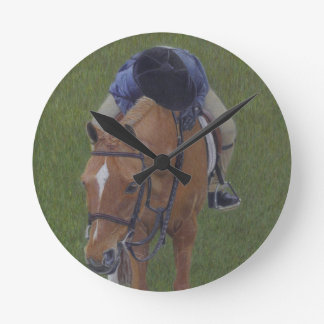 Young Equestrian Rider and Pony Round Clock