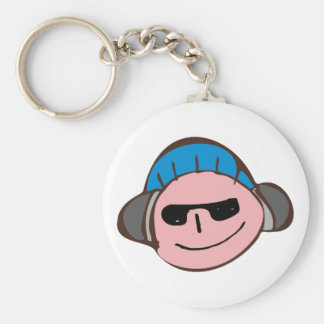Young face boy face headphones head phones basic round button keychain