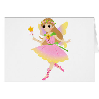 Young Fairy Girl in Pink Dress Holding Star Wand Card