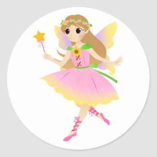Young Fairy Girl in Pink Dress Holding Star Wand Classic Round Sticker