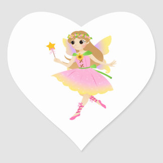 Young Fairy Girl in Pink Dress Holding Star Wand Heart Sticker