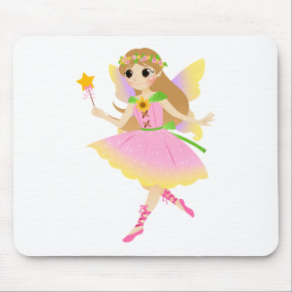 Young Fairy Girl in Pink Dress Holding Star Wand Mouse Pad