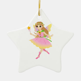 Young Fairy Girl in Pink Dress Holding Star Wand Christmas Tree Ornaments