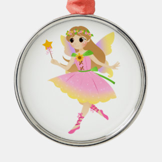 Young Fairy Girl in Pink Dress Holding Star Wand Ornaments