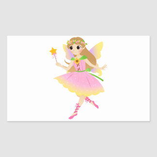 Young Fairy Girl in Pink Dress Holding Star Wand Rectangular Sticker