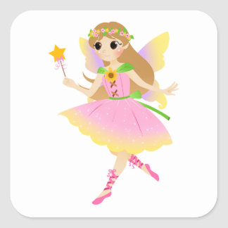 Young Fairy Girl in Pink Dress Holding Star Wand Square Sticker