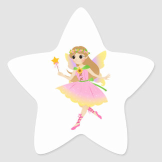 Young Fairy Girl in Pink Dress Holding Star Wand Star Sticker